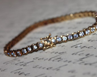Sterling Tennis Bracelet, Safety Clasp, Gold overlay
