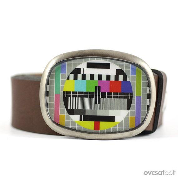 Monoscope Belt Buckle, TV Test Pattern Belt Buckle, Retro Belt Buckle