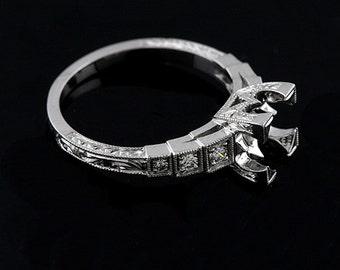 Platinum Art Deco Diamond Hand Engraved Step Shank Engagement Ring Setting