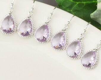Lavender Earrings - Bridesmaid Earrings SET OF 4 - 8% OFF Wedding Jewelry - Lavender Bridesmaid Earrings - Purple Glass Drop Earrings