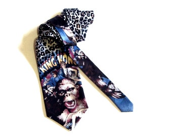 King Kong Silk Necktie American Film Classics RKO Pictures 1992 Gorilla on Leopard Print Valentine's Day Gift