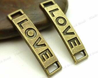 Bulk 18 Love Message Connectors Antique Bronze Tone Metal - 28x6mm - Affirmation Charms, Pendants, Links - BA9