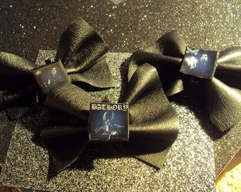Black Metal Leather Bows