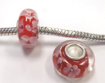 1 Bead - Red Pink Flower Lampwork Glass Silver European Charm Bead E1024