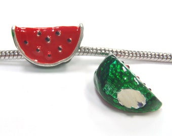 3 Beads - Watermelon Enamel Food Silver European Charm Bead E1108