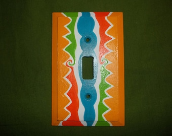 Bright Hand Painted Wood Single Switchplate FREE SHIPPING