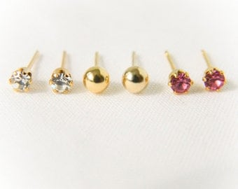 Gemstone Studs and Gold Ball Earrings- Set of 3 // Clear Crystal, Pink Crystal, Gold Ball Post, Bridesmaid Earrings, Dainty, Tiny Earrings