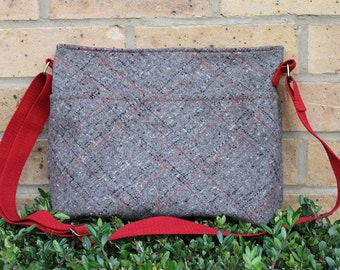 Purse, crossbody bag, wool fabric, brown and red