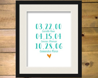 Personalized Children Birth Dates Art Print- Family Art 8x10