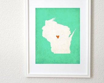 Wisconsin State Art Silhouette Map Personalized Print