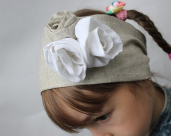 Linen organic Headscarf Headband, Hair Band Headscarves with white roses Head Scarf Head Wrap Size S, M, L, XL