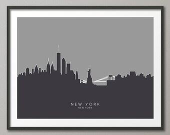 New York Skyline, NYC Cityscape Art Print (631)