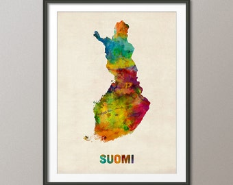 Finland Watercolor Map (Suomi), Art Print (999)