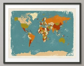 Retro Political Map of the World Map, Art Print, 18x24 up to 24x36 (1099)