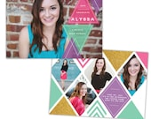 INSTANT DOWNLOAD - Graduation announcement - Photoshop Templates - E1022