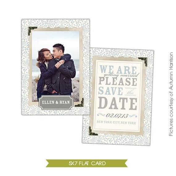 INSTANT DOWNLOAD  - Save the Date Card Template - Photoshop template - E301