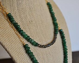 GREEN AVENTURINE GOLD necklace