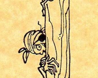 Undead Peeking Pirate Rubber Stamp