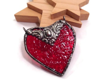 Stained Glass Heart Pendant Red Heart Jewelry Handmade Jewelry Heart Necklace Glass and Metal Jewelry Red Glass Jewelry Red Glass Necklace