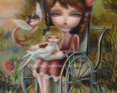 Rose In The Garden LIMITED EDITION print signed numbered Simona Candini lowbrow pop surreal big eyes wheelchair doll fantasy Victorian girl