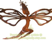 Fairy Garden Art with Large Dragonfly Wings Home Decor Nursery Decor Rusty Recycled Metal