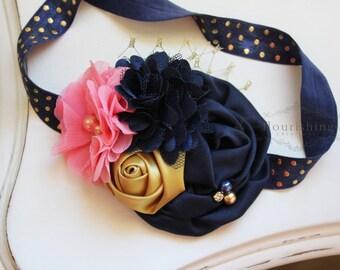 Navy, Gold and Coral Pink headband, navy headbands, newborn headbands, gold headbands, photography prop, navy and gold headbands