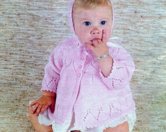 Vintage PDF Knitting Baby Patterns - QK  8ply Matinee Jacket and Bonnet  17 to 19ins
