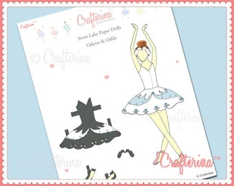 Swan Lake Paper Doll PDF by Crafterina - Paper Craft - Educational Toy - Odette and Odile - Printable