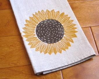 Hand printed linen tea towel, linocut sunflower, kitchen/bathroom (made to order)