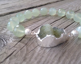 Druzy silver pendant with jade faceted gemstone bracelet