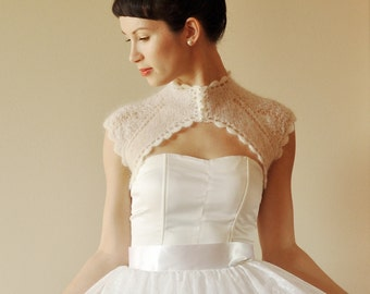BRIDAL SHRUG wedding bolero retro style hand made natural white color or ecru
