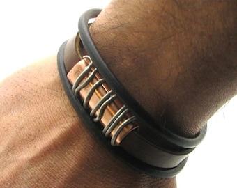 EXPRESS SHIPPING Birthday gift for men .Leather bracelet. Brown leather multi strand bracelet with handmade copper bracelet.Gift for him.