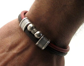 EXPRESS SHIPPING Men's Bracelet.Brown leather and red leather multi strand bracelet with silver plated spacer and clasp.Mens gift.