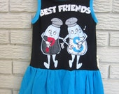 Girls Size 2T Best Friends Salt and Pepper Sleeveless Knit Dress. Blue and Black. Black Friday/Cyber Monday/Free Shipping /Gifts under 50