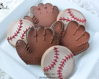 Vintage Baseball Decorated Cookies, Baseball Cookies, Baseball Glove Cookies, Boys Birthday Cookies, Ball Cookies, Vintage cookies,