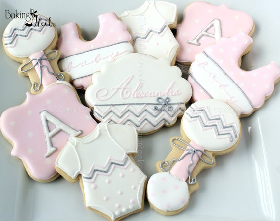 baby shower cookies it 39 s a girl decorated cookies baby bib cookies