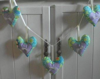 Green Floral with Purple Gingham Heart Garland
