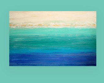"Acrylic Painting Abstract Art on Canvas Beach Ocean Seascape Titled: Regatta 30x48x1.5"" by Ora Birenbaum"