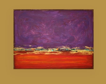 "Acrylic Abstract Original Painting on Canvas Red and Purple Titled: Red Dawn 10 30x40x1.5"" by Ora Birenbaum"