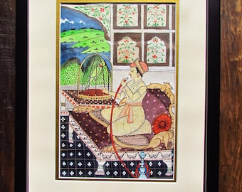 Indian art print India painting Indian art Indian maharaja palace hookah