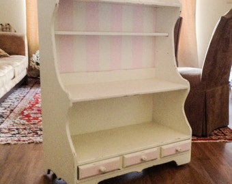 White and Pink Stripe Shabby Chic Bookcase, Display