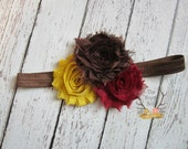 Brown Mustard Yellow Burgundy Fall Headband -  Baby Newborn Infant Photo Prop Toddlers Girls Women Maroon Leaves Autumn