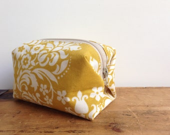 Yellow Box Pouch, White Damask on Yellow, Cosmetic Pouch, Zipper pouch, Small Makeup Bag