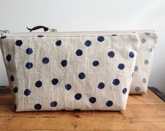 Navy Blue Polka Dots Pouch, Zipper Cosmetic Pouch, Toiletry Bag, Linen Pouch, Japanese Zipper Bag, Makeup Bag, Cute Dot