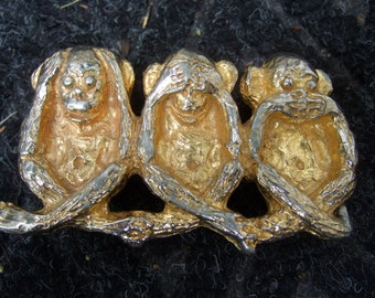 Trio of Gilt Metal Monkeys Belt Buckle Designed by Mimi d N c 1973