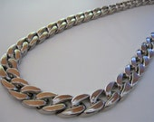 Curb Chain Large Plastic Silver Fashion Flat Curb Chain 3 Feet of Large Chunky Silver Plastic Fasion Curb Chain 23mm by 17mm by BySupply