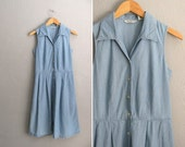 50% off sale 90s light blue chambray eddie bauer button-front dress midi medium