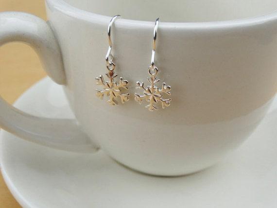 Silver Snowflake Earrings - Sterling Silver
