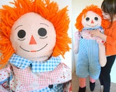 Vintage Raggedy Andy Huge Large Life Size Stuffed Plush Doll Pillow. 1978 Great Condition! Handmade with love many years ago!