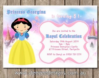 Personalised Princess Birthday Invitations - CHOOSE YOUR PRINCESS - You Print